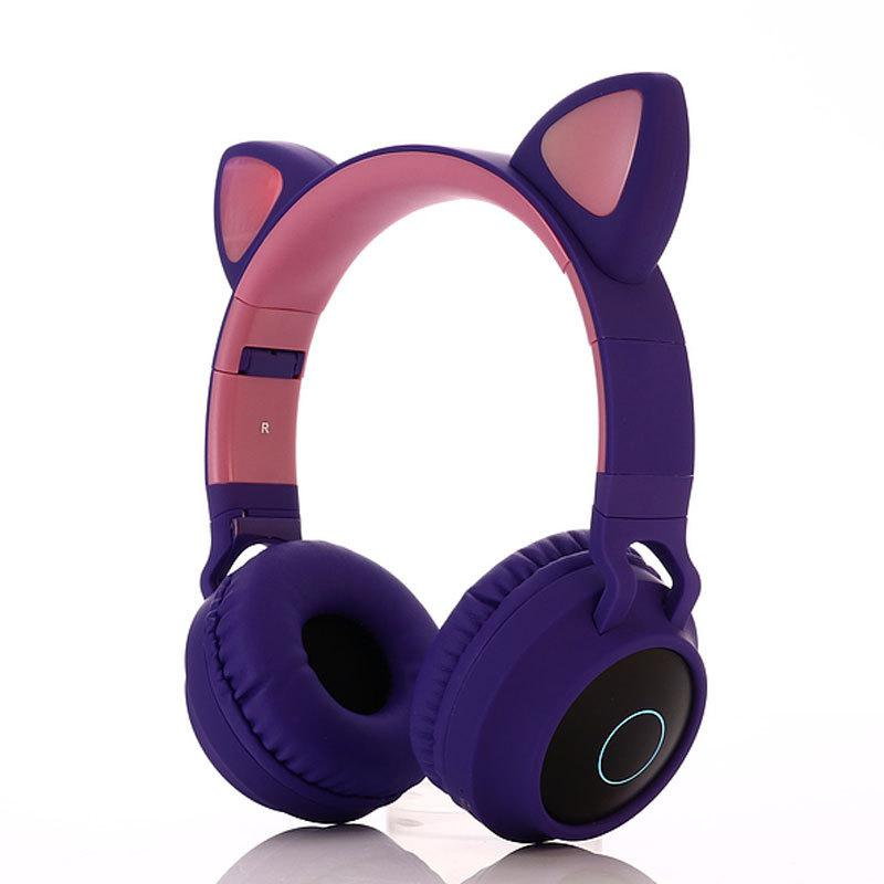 Cute Cat Ear Bluetooth 5.0 Headphones Foldable On-Ear Stereo Wireless Headset With Mic LED Light FM Radio/TF Card Headphone R60