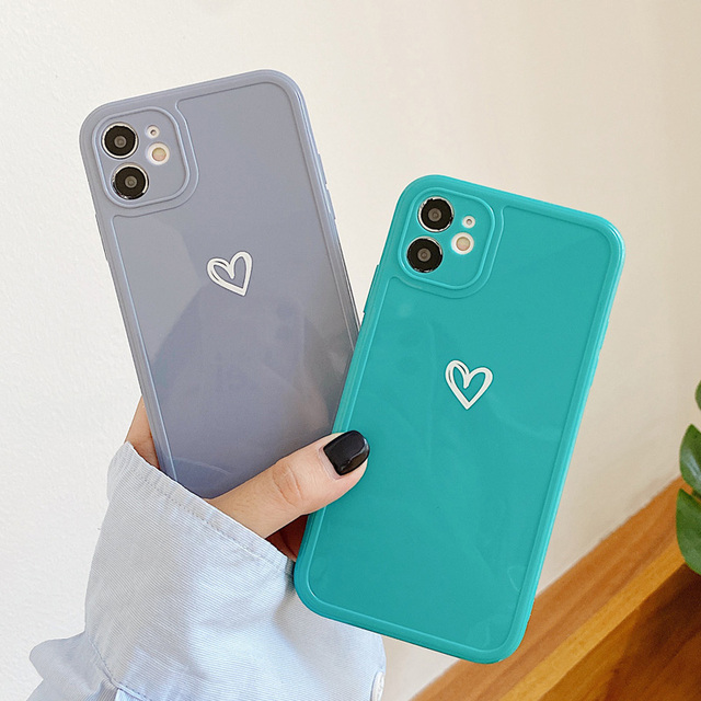 Love Heart Phone Case For iPhone 11 12 Pro Max 7 8 Plus X XR XS Max Candy Color Square Frame Back Cover For iPhone 7 8 Plus 4