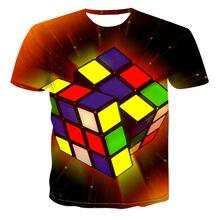 2021 new Rubik's cube printed T-shirt, Rubik's cube 3D printed T-shirt for boys and girls, customized T-shirt, cartoon Boy T-Shi