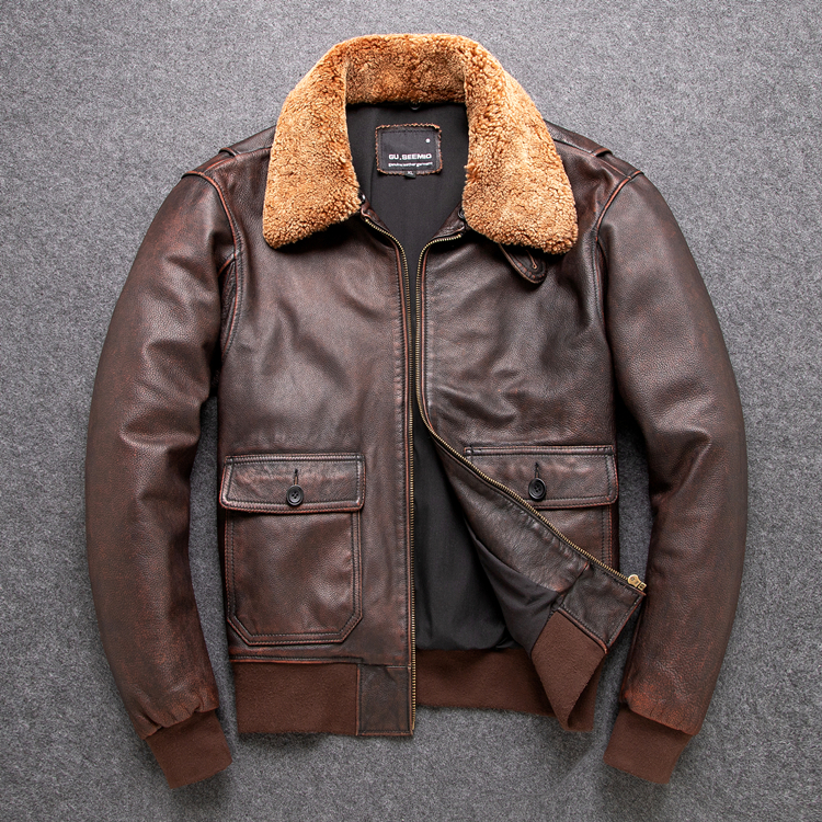 Free Shipping.Classic G1 Bomber,mens Outdoor Cowhide Coat,vintage Leather Jackets,man Genuine Leather Jacket.Brown Outwear