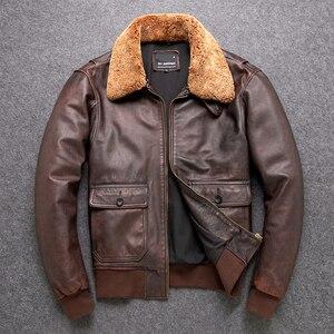 Image 3 - 送料無料。クラシックG1 爆撃機、メンズ屋外牛革コート、ヴィンテージ革ジャケット、男性本革ジャケット。ブラウン生き抜く