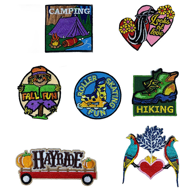 Flower Shoes Bird Letter Patches Iron on Patches for Clothing Stripe Badges Stickers on Clothes DIY Applique Embroidered Patches