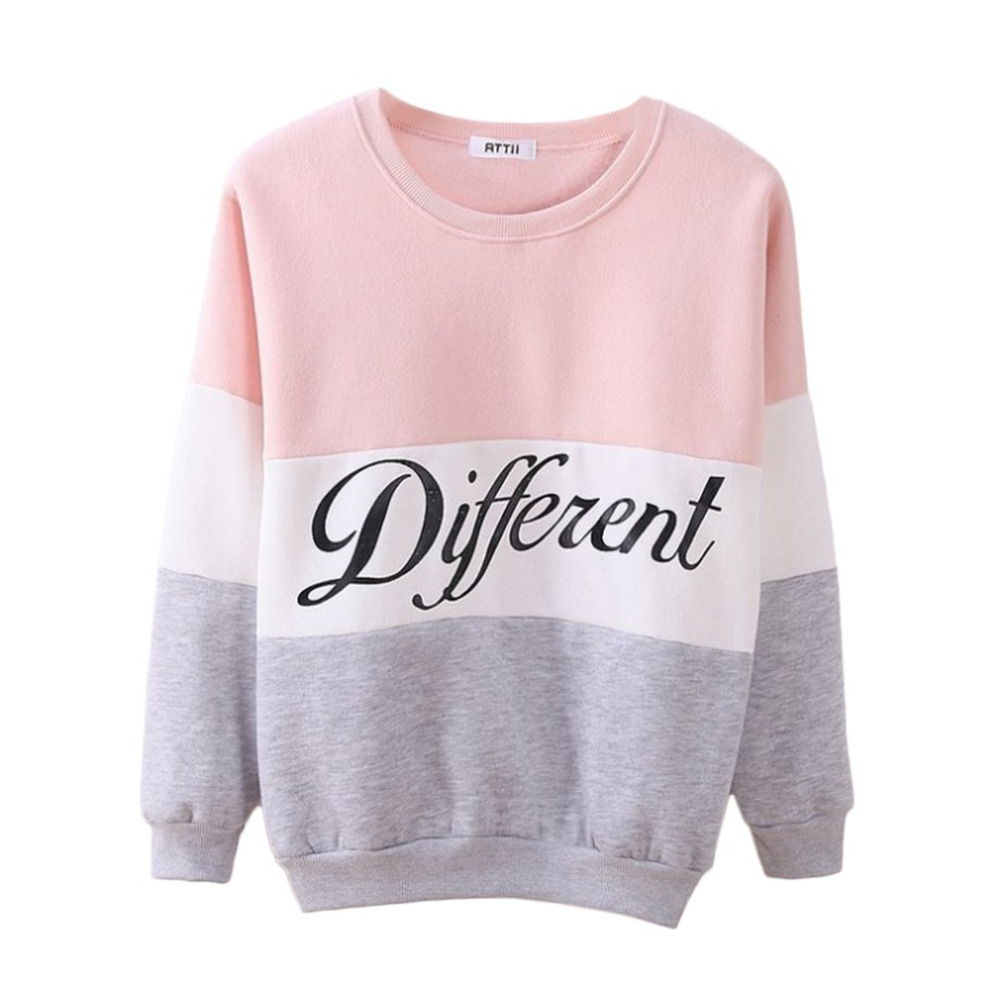 Letter Different Printed Women Fleeve Hoodies Spring Long Sleeve Sweatshirt Patchwork O-neck Pullovers Sudaderas Autumn Winter