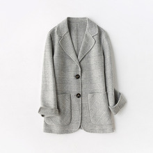 High quality ladies jacket blazer Autumn casual plaid double-faced cashmere full-sleeve women's jacket Double pocket wool top