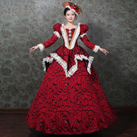Dresses Woman Prom Robe De Soiree Outfits Party Costume Masquerade Royal Red Long Sleeve Court Dresses Lace Century Renaissance