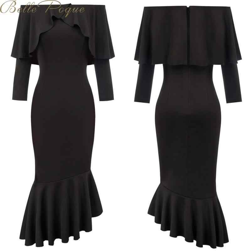 Belle Poque 2019 Elegant Ruffled Butterfly Party Dress Long Sleeve Autumn Winter Office Dress Vintage Celebrity Vesidos
