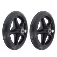2pcs Non-slip Wheelchair Caster Wheel Replacement Parts Solid Tires Front Wheel for Wheelchairs - 7 inch 5/16 Bearing(China)