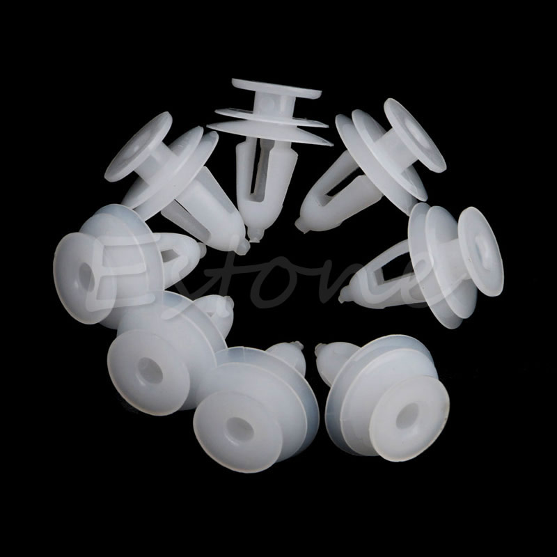 Купить с кэшбэком 20Pcs White Plastic Rivets Retainer Push Clips 9mm Hole for Car Bumper Fender