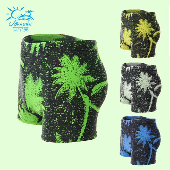Fashion-Men Boxer Swimming Trunks Plus-sized Swimming Trunks Men's Palm High-waisted Conservative Swimwear Beach Bathing Suit