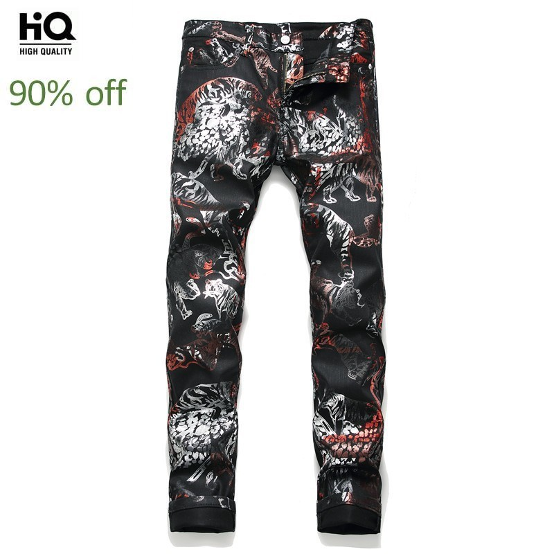 Fashion European New Brand Personality Printing Mens Pants High Street Full Length Slim Fit Punk Style Casual Pencil Trousers