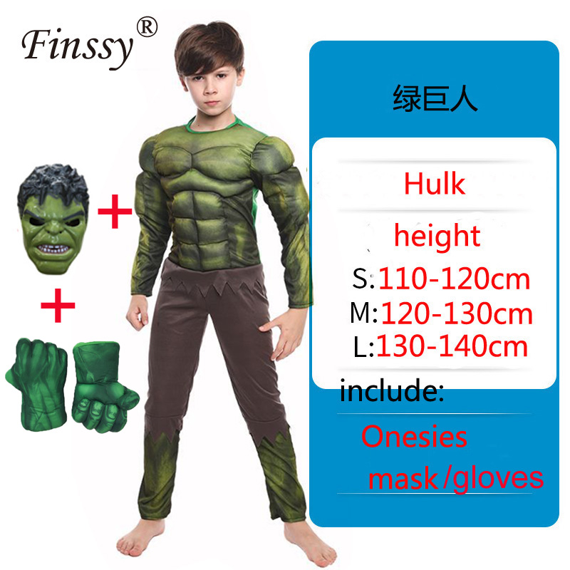 Heroic Hulk Onesies Birthday Party Carnival Clothes Very Cool Gift Avengers Halloween Cosplay Costume For KidsBoys Costumes   -