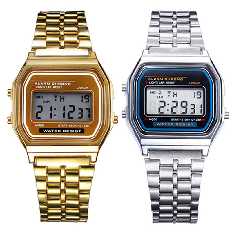 Women Men <font><b>Unisex</b></font> Watch Gold Silver Vintage Stainless Steel LED Sports Military Wristwatches Electronic Digital Watches Present image
