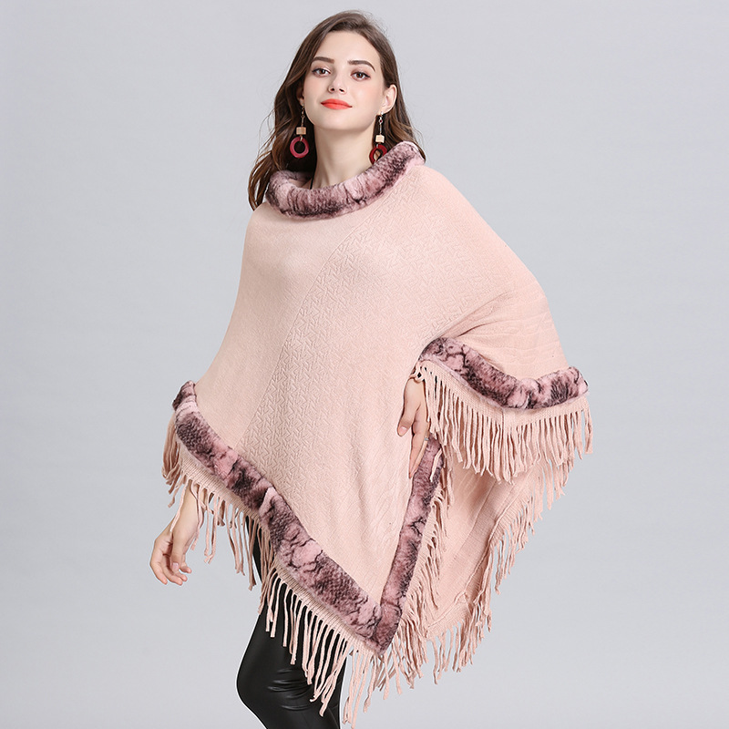 2019 New Style Women Loose Capes Winter Faux Fox Fur Shawl Knitted Triangle Tassel Sweater Plus Size Fur O Neck Pullover Coat in Women 39 s Scarves from Apparel Accessories