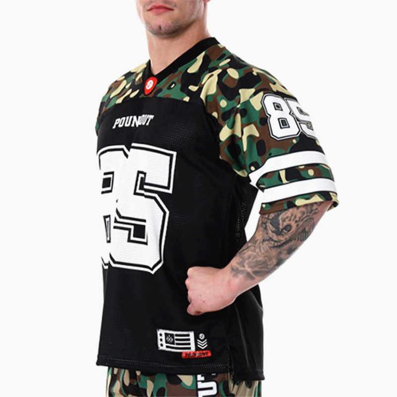 2019 Streetwear New Mens Bodybuilding t camisa Hip hop soltas Camisas de Verão de Manga Curta de treino de Fitness Fino T secagem rápida topos