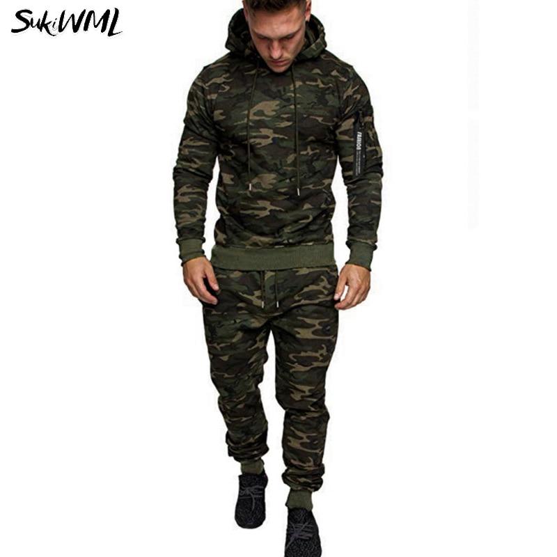 SUKIWML Men Sprotwear Sets 2019 New Autumn Tracksuit Men Military Camouflage Casual  2 Piece Sweatshirt + Sweatpants Sets M-2XL