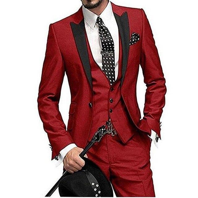 Dress Suit-Set Jacket Tuxedo Groom Wine Italian-Style Elegant Colorful Men's 3piece Vest