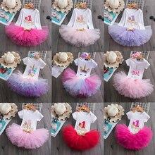 Платье на 1-й день рождения для маленьких девочек, одежда с буквенным принтом для малышей на 1-й день рождения, вечерние чное платье с единоро...