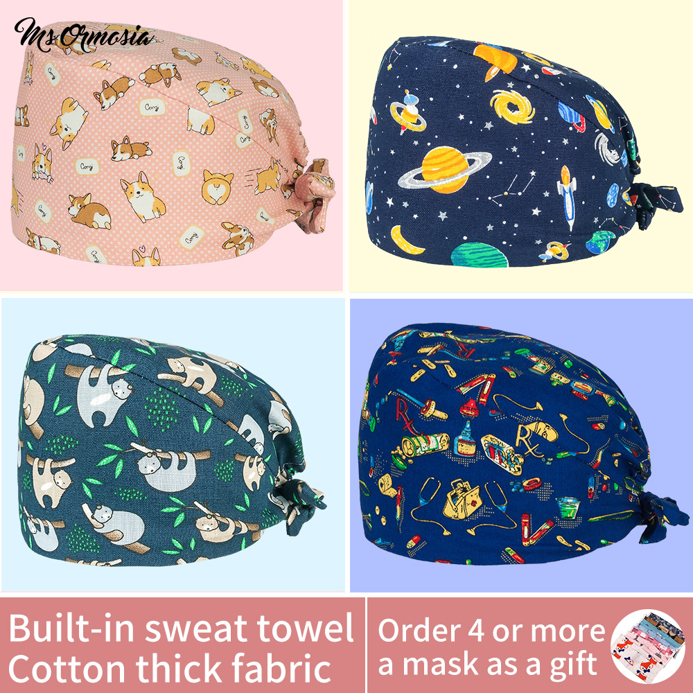 Medical Print Sweat-absorbing Surgical Hats Dental Clinic Nursing Caps Cotton Pet Hospital Work Hats Operating Room Doctor Caps