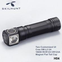 Skilhunt H04 H04R H04F Cree XM L2 LED Headlight Flashlight Two Customized UI RCR123 CR123A 18650 Headlamp with Magnet Flat Tail