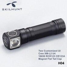 Skilhunt H04 H04R H04F 크리 어 XM L2 LED 헤드 라이트 손전등 두 개의 사용자 정의 UI RCR123 CR123A 18650 헤드 램프 자석 플랫 테일