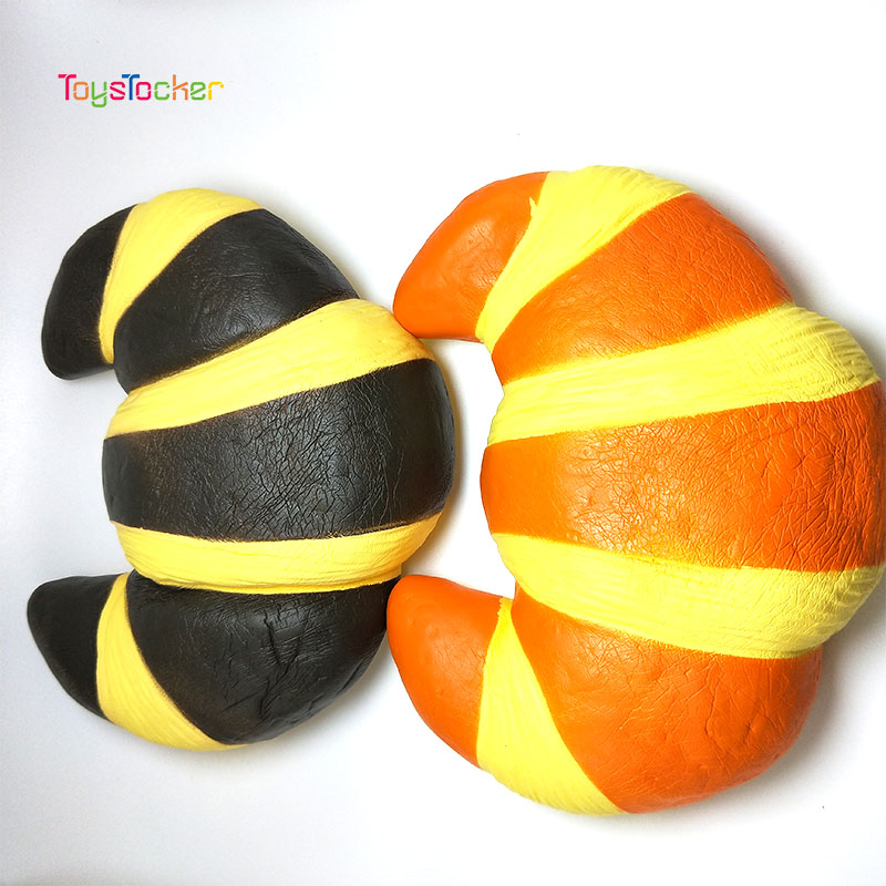Jumbo Kawaii Colorful Croissant Squishy Doll Slow Rising Stress Relief Squeeze Toys For Baby Kids Xmas Gift 18*15*6CM
