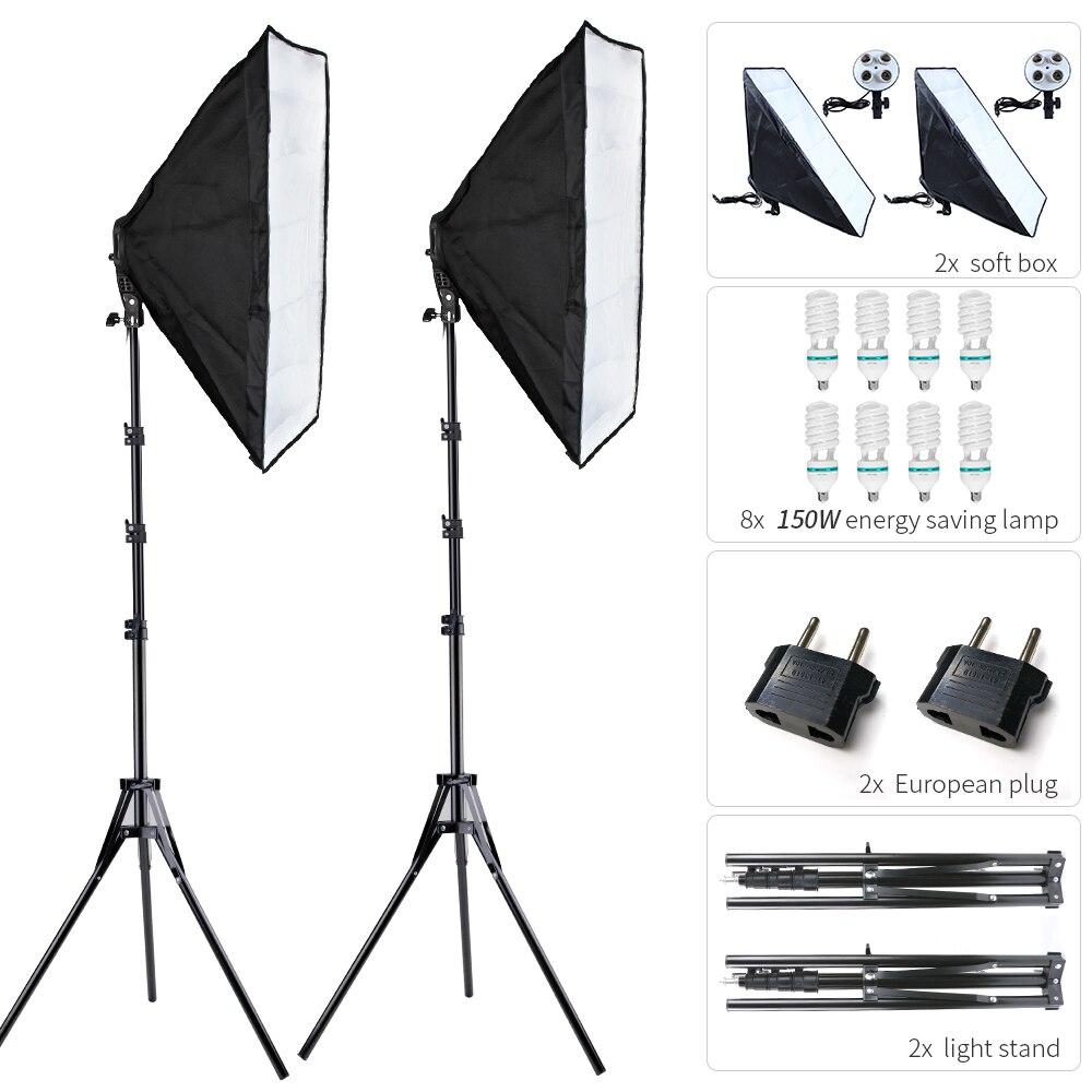 Набор софтбоксов для фотосъемки 50x70 см с 8 светодиодный 150