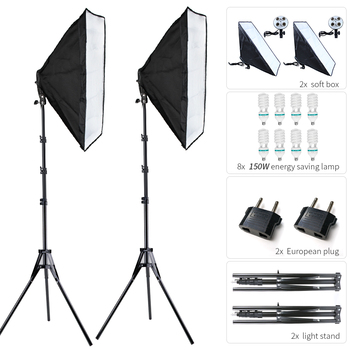 Photography Softbox Kits 50x70CM with 8 LED 150W Bulb Light Box for Photo Studio for Video Live Fill Lamp Soft box Lighting Kits 2pcs 50x70cm photography softbox lighting kit 4pcs 25w led bulb professional continuous light system softbox for photo studio