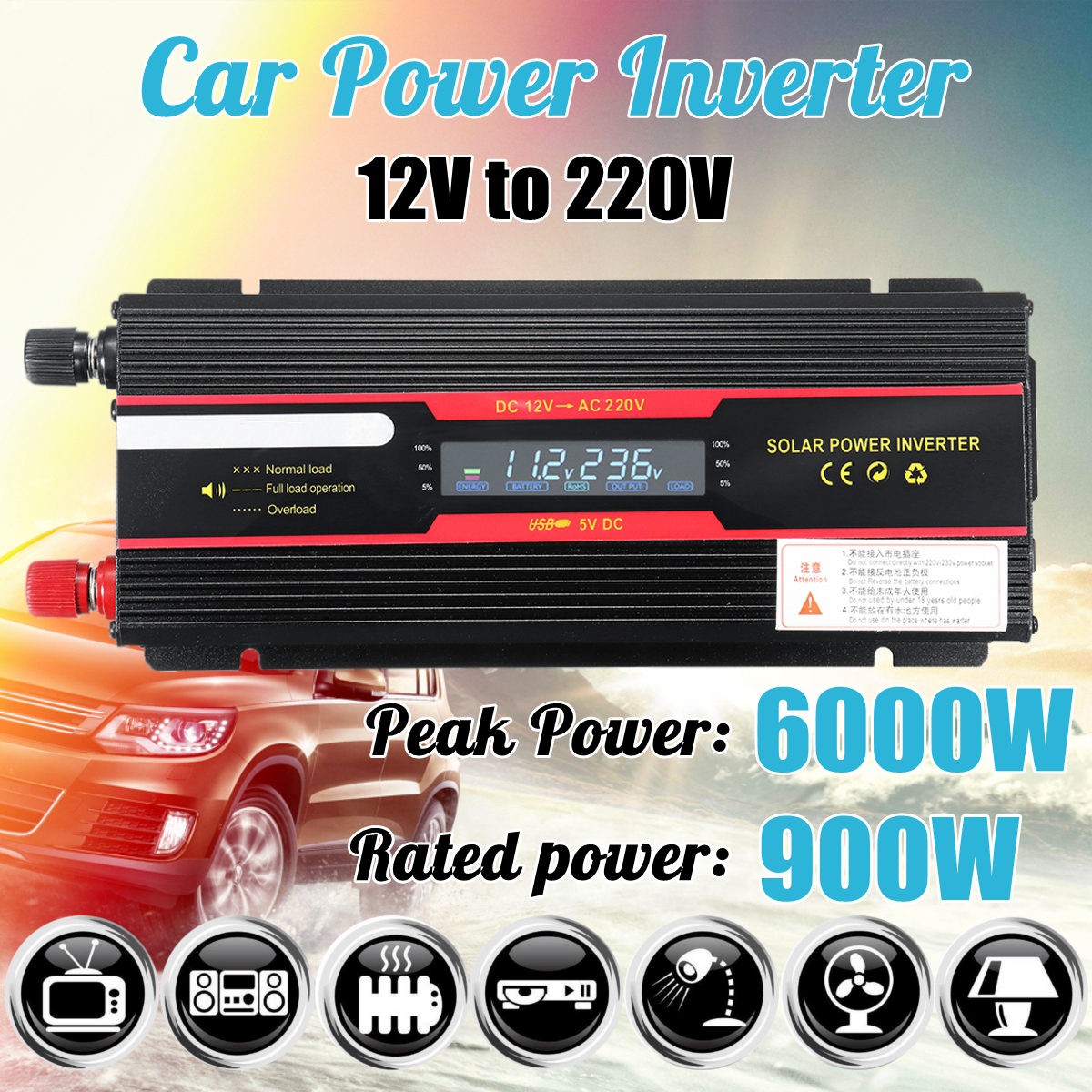 Car Inverter 12V 220V 6000W Peak Power Inverter Voltage Convertor Transformer 12V/24V To 110V/220V Inversor + LCD Display
