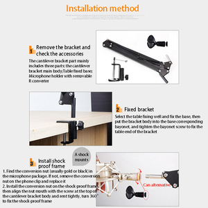 Image 4 - Extendable Mic Stand Foldable Microphone Stand Arm Stand And Table Mounting Hanging   Tool Clamp Fastener Microphone Holder Kit