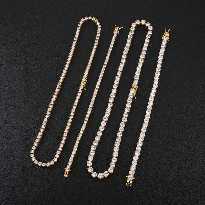 3/4/5mm glacé Bling 1 rangée Micro pavé cubique Zircon chaîne de Tennis collier pour hommes Hip Hop bijoux cadeau