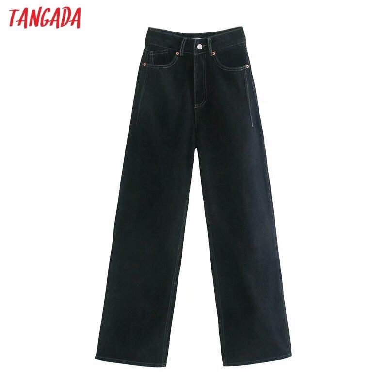 Tangada 2020 women high waist overlength jeans pants trousers pockets zipper female wide leg denim pants 4M520 2