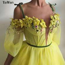 Off Shoulder Sexy Long Sleeves Evening Dresses Yellow Colored Flowers Fashion Party Prom Formal Gowns 2019 YeWen