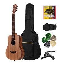 Guitarra acústica de abeto de 34 pulgadas, Panel superior de madera de teca, parte trasera lateral con bolsa Gig, correa de repuesto, cuerdas Capo, púas, Kit de guitarras