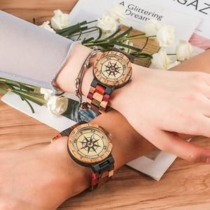 Image 4 - יוקרה גברים של שעון ייחודי מצפן חיוג עץ שעון גברים מעורב צבע מלא עץ להקת שעון נשים שעון רטרו שעוני יד relojes
