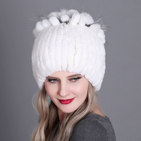Winter Knitted Women Hat Cotton Fur Cap Fur Headgear Warm Beanies Cap Ladies Elegant Princess Hat Headgear Headdress Warmer Hat
