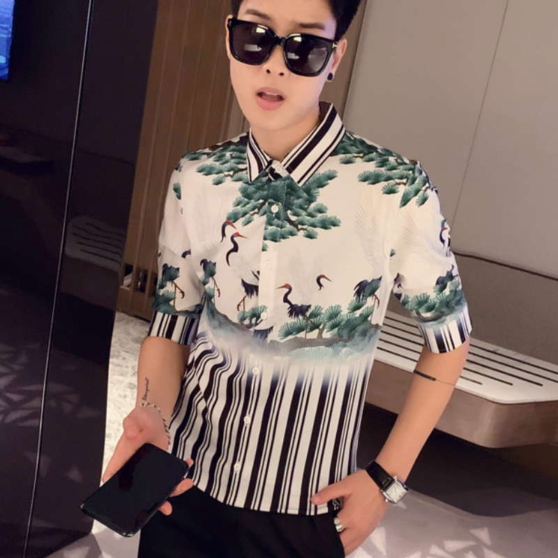 Striped Shirt Men Short Sleeve Blouse Homme Casual Slim Fit Hawaiian Shirt Streetwear Social Club Party Tuxedo Clothing 2020