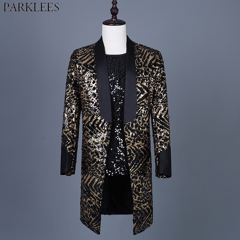 Leopard Sequin Blazer Jacket Men Brand New Mens Long Glitter Suit Coat Party Dance Singer Stage Shawl Collar Costume Blazer 3XL