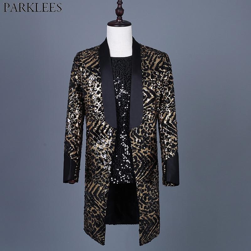 Leopard Sequin Blazer Jacket Men Brand New Mens Long Glitter Suit Coat Party Dance Singer Stage Shawl Collar Costume Blazer 3XL