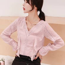 Korean Fashion Woman Blouses Shirts Women Chiffon Lace Blouse Shirt Womens Tops and Print Plus Size