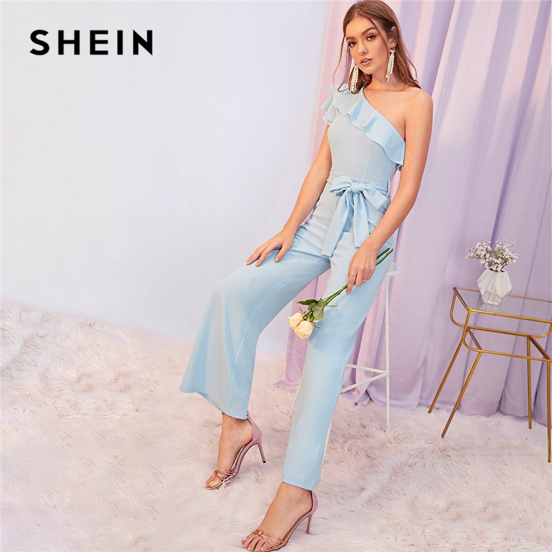 SHEIN Blue Solid One Shoulder Ruffle Foldover Party Jumpsuit With Belt Women Autumn Cap Sleeve Wide Leg Elegant Ladies Jumpsuits
