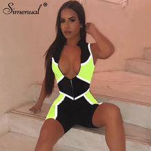 Simenual Neon Reflective Workout Playsuit Zipper Patchwork Casual Fitness Rompers Womens Jumpsuit Fashion 2019 Autumn Playsuits