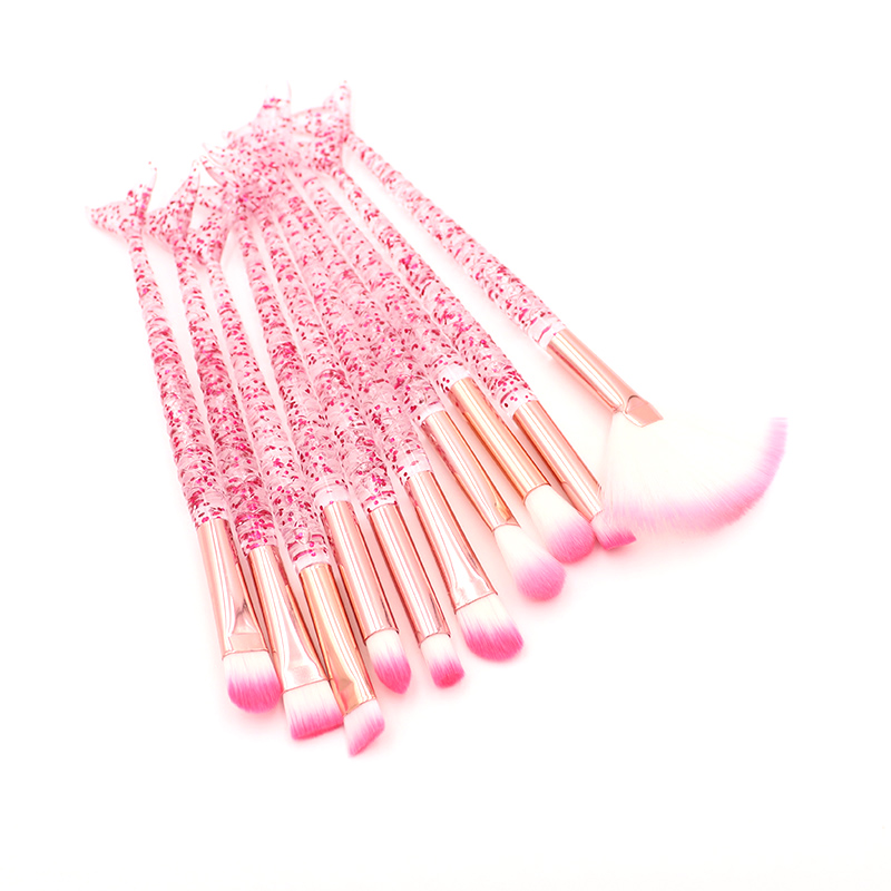 10pcs Pink Mermaid Makeup Brushes Set Eyeshadow Blush Foundation Brush Lip Brush Crystal Diamond Make up brush Kits maquiagem