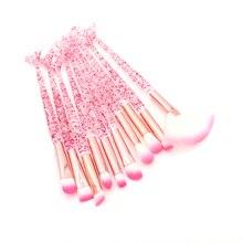 10pcs Rosa Della Sirena Spazzole di Trucco Set Ombretto Blush, fard Prodotti di base Pennello Spazzola del Labbro di Cristallo Diamante Make up Brush Kit maquiagem