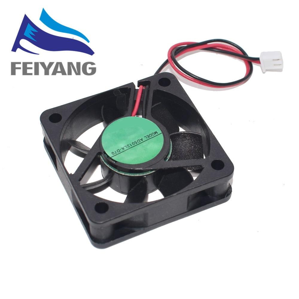 1 шт. 5010 DC 12V 3D принтер турбинный вентилятор 5010 3d Принтер часть вентилятора 50 мм (50*50*10 мм) 2Pin Бесщеточный вентилятор охлаждения 12В вентилятор в...