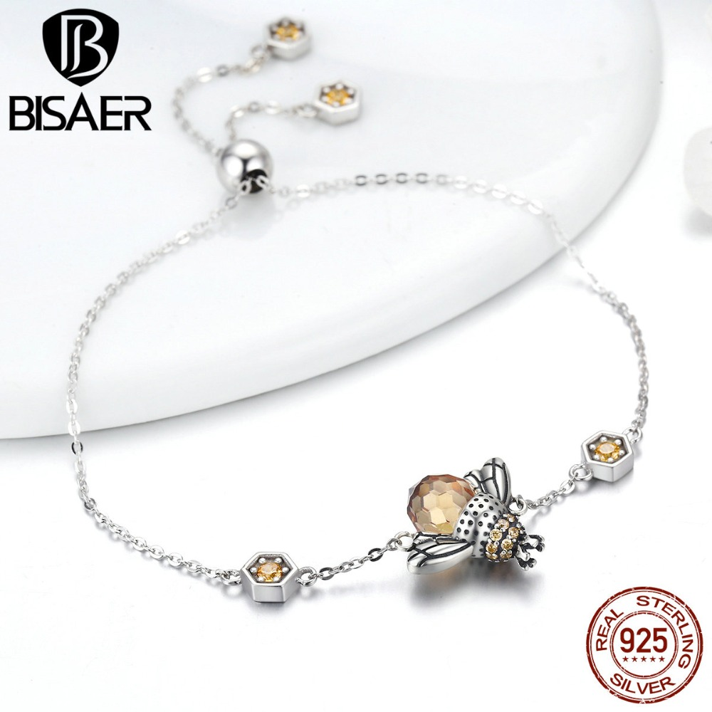 2019 New 925 Sterling Silver Dancing Bees Cute Insect Chain Bracelet For Women Bee Link Bracelet Fine Sterling Silver Jewelry