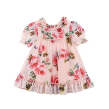 Lovely Princess Party Toddler Baby Girls Dress Chiffon Floral Print Ruffles Knee-Length A-Line Summer 6M-5Y