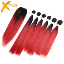 Yaki Straight Synthetic Hair Bundles With Closure 14-18inch X-TRESS High Temperature Fiber Ombre Red Color Bundle Hair Weaving(China)