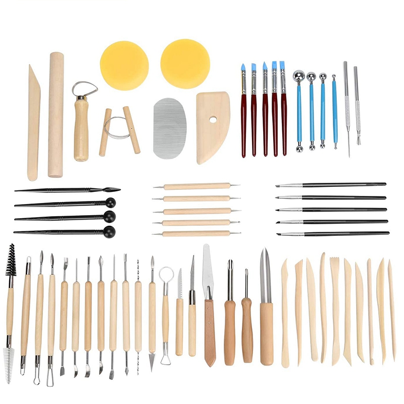 62Pcs Pottery Tools Clay Sculpting Tools Set Clay Cleaning Tools Kits Rock Painting Kit for Sculpture Pottery Art Crafts