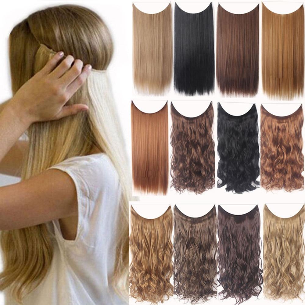 21,6 дюймовый зажим для наращивания волос цельный кусок для наращивания длинных вьющихся волос для женщин синтетический шиньон черный зажим ...