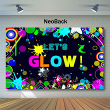 Neoback Lets Glow Backdrop Painted Graffiti Splash Birthday Photography Backdrops  Party Decor BannerPhoto Background